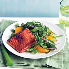 "See the ""Soy-Glazed Salmon with Watercress Salad"" in our Watercress Recipes gallery Watercress Recipes, Watercress Salad, Salmon Seasoning, Glazed Salmon, Eat Lunch, Rice Vinegar, Easy Salads"