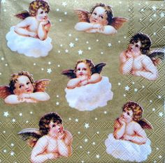 4 x Single Table Paper Napkins /Craft , Party/ for Decoupage / GOLD ANGELS