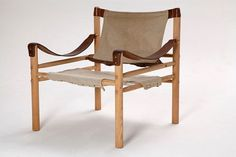 A safari chair in beech and leather with by bandeapartvintage, $695.00