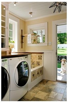 (paid link) Consider Installing a Dog-Bathing Station. Some dog owners don't want to mess up their sink or bathroom and decide to build a dedicated Bathing ... #dogbathingstation Dog Washing Station, Laundry Room Design, Laundry Rooms, Small Laundry, Laundry Area, Small Tub, Basement Laundry, Bathroom Laundry, Laundry Shelves