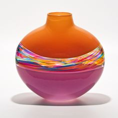Flat Banded Vase Tangerine, Florida & Raspberry by Michael Trimpol, Monique LaJeunesse. Art Glass Vase available at www.artfulhome.com