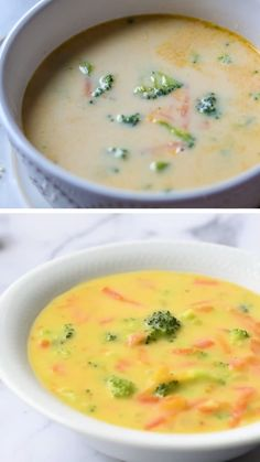 This Copycat Panera Broccoli Cheddar Soup has been lightened up but is still every bit as tasty and this Broccoli Cheese Soup is ready in 30 minutes. Brocoli And Cheese, Brocoli Soup, Broccoli Soup Recipes, Cream Of Broccoli Soup Recipe Panera, Cream Soup Recipes, Cheddar Cheese Soup, Queso Cheddar, Broccoli Cheddar, Vegetarian Recipes
