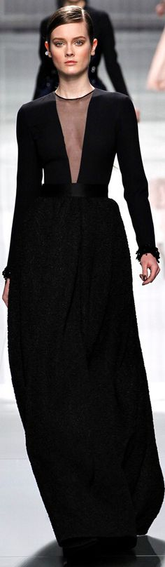 Fall / Winter - Dressy Style - Party Style - deep sheer v-neck long sleeve black gown - Christian Dior RTW Fall 2012