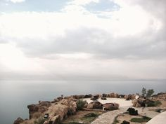 A landscape taken from a panoramic restaurant at the edge of the Dead Sea in the dunes.