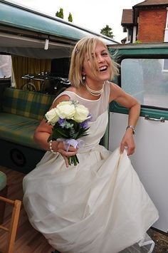 Alison arriving for her wedding in the family camper van!