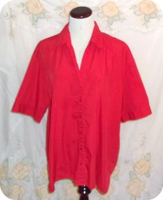 Premier Womens Top Plus Size 1X Red Button Down Short Sleeve Polyester Cotton #Premier #ButtonDownShirt #CareerCasual #Fashion #Clothing #Womens #Plussize #Top #Size1X