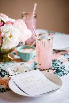 """""""Think Pink"""" cocktail - perfect for a Valentine's party!"""