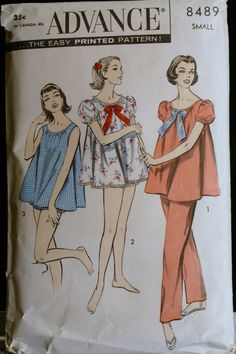 4fc7486ded Vintage Sewing Pattern 50s Womens Pajama and Baby Doll Set - Advance 8489  Sz Small