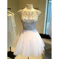 Short White Bead Tulle Prom Dress Custom Dress Straps Knee-length Formal Dress Homecoming Dress Party Dress 2014
