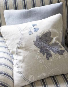 Colefax & Fowler; Kashmir Leaf 'Blue'(on pillow)