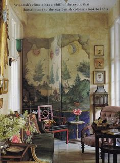 John Rosselli-Furlow Gatewood-Savannah-HG July 1992-Oberto Gili - Savannah's warm climate inspired the exotic undertones of the breakfast room sitting area. A Mexican primitive painting inspired Rosselli's design for the folding screen. French, chinoiserie and American Victorian furniture adds to the mix. The walls were painted to imitate limestone.