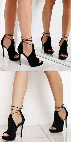 'Cersei' Lace Up Heel In Black Faux Suede