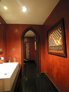 Mediterranean Powder Room Hacienda Style Homes Design, Pictures, Remodel, Decor and Ideas Love the red walls. Modern Moroccan Decor, Moroccan Design, Moroccan Style, Moroccan Bedroom, Burnt Orange, Mediterranean Bathroom, Mediterranean Design, Hacienda Style Homes, Powder Room Design