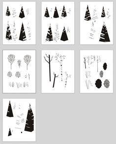 Eric Nyffeler's unprocessed / untreated tree elements for the 'Grand Teton National Park' poster