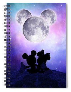 """This x spiral notebook features the artwork """"Mickey Mouse moon"""" by Mihaela Pater on the cover and includes 120 lined pages for your notes and greatest thoughts. Notebooks For Sale, Lined Page, Different Shapes, Art Pages, Basic Colors, Tag Art, Custom Framing, Color Show, My Images"""