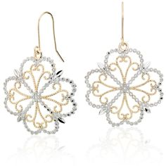 Blue Nile Delicate Filigree Clover Drop Earrings (750 ILS) ❤ liked on Polyvore featuring jewelry, earrings, vintage filigree earrings, lightweight earrings, 14k earrings, vintage jewelry and drop earrings