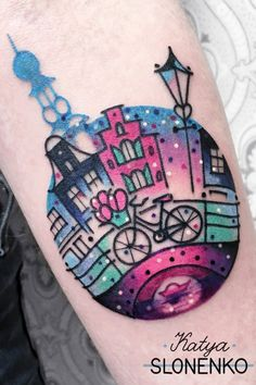 Cute pink cityscape tattoo of Amsterdam by Katya Slonenko - Book with Katya on the Tattoodo App or find an artist near you! - #amsterdamtattoo #pinktattoo #biketattoo #cutetattooo #citytattoo #memorytattoo #tattooidea #tattooinspo #tattooideainspo