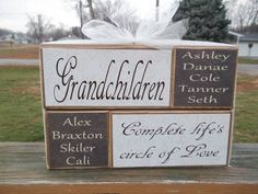 Use chalkboard for names. Personalized Grandparents complete lifes circle of love primitive wood block set grandchildren names home decor birthday mothers day gift Primitive Wood Crafts, Wood Block Crafts, Wooden Crafts, Brick Crafts, Primitive Stitchery, Decorative Crafts, Primitive Patterns, Reclaimed Wood Projects, Scrap Wood Projects