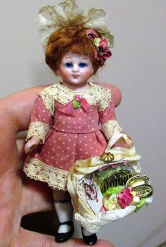 "Precious 4"" All Bisque (glass eyes) Antique Mignonette German Dollhouse doll"