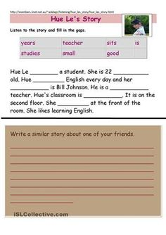 Listening, Reading, Writing activity for beginner level students. Can also be speaking if you let them listen once or twice and ask some comprehension questions.  - ESL worksheets