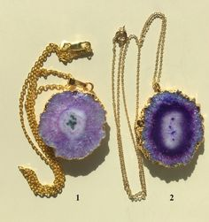 Purple and Lavender Agate Druzy Slices - Geode Slice Necklaces With 18K Gold Filled Chains by MagicalUniverse on Etsy