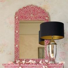 The Indian Mother of Pearl Inlay Mirror from Instyle Decor not only offers quality construction but is a stunning synthesis of art and craftsmanship. Pink Wall Mirrors, Mirror Mirror, Mirror Link, Mother Of Pearl Mirror, Spiegel Design, Mirror Crafts, Pink Home Decor, Pink Accessories, Decorative Accessories