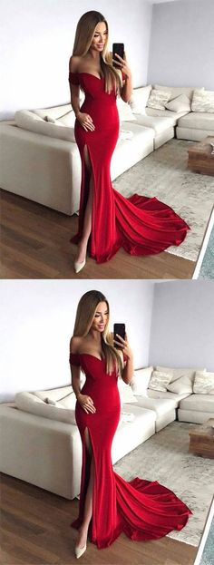 Hot Sexy Mermaid Off-Shoulder Red Long Prom/Evening Dress with Split Front B0656
