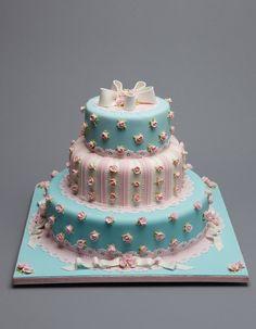 Pink & Blue Rosebud Cake