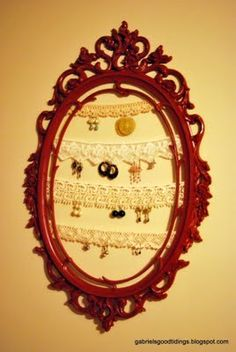Gabriel's Good Tidings: Vintage Mirror and Lace Earring Holder. I finally did this project this past weekend. I painted mine lavender, and I'm totally in love with it! It makes me smile every time I walk by it!