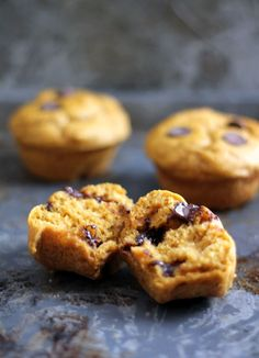 Delicious Whole Wheat Pumpkin Chocolate Chip Muffins - made with greek yogurt, no butter and sweetened naturally with honey!