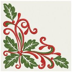 Wind Bell Embroidery Embroidery Design: Heirloom Holly Corner 3.44 inches H x 3.44 inches W