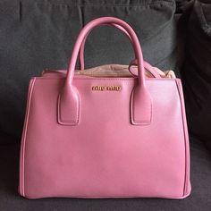 Miu Miu Madras Pink Leather Designer Tote Shoulder Handbag #MIUMIU…