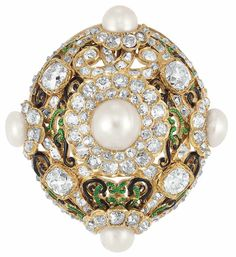Antique Gold, Natural Pearl, Diamond and Enamel Brooch  The pierced oval domed mount fashioned of a scrolled ribbon motif applied with green and black enamel, centering one 3/4 button pearl, quartered by 3 button pearls and one round pearl. spaced by 4 old-mine cut diamonds, set throughout with 125 old-mine cut diamonds, altogether approximately 5.65 cts., circa 1870,
