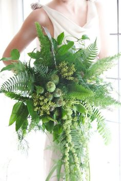 Greenery Wedding Bridal Bouquet by Kim Nowell Photography/ Vases Wild