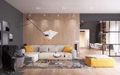meuble scandinave, mur peint en gris foncé, revêtement de mur en bois, canapé d'angle beige, tabouret en jaune moutarde