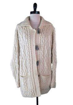 Carraig Donn Irish Fisherman Sweater M 100% Wool Aran Toggle Long Jacket Ivory   #CarraigDonn #Cardigan