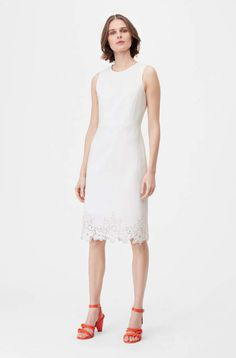 The polished silhouette of the Tailored Eyelet Embroidered Dress offers a feminine spin on wear-to-work style. Fashion 2018, Work Fashion, Fashion Design, White Sleeveless Dress, White Dress, Dress Outfits, Fashion Outfits, Current Fashion Trends, Dress Images