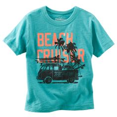 A vintage screen print rides into this season with neon for a laid-back bold. Soft, textured jersey wins style points, too. Baby Boy Tops, Carters Baby Boys, Little Boy Fashion, Kids Fashion Boy, Beach Shirts, Summer Shirts, Surf, Shirt Print Design, Shirt Designs