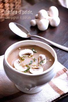 Vellutata di patate, champignon e porcini al timo e alloro
