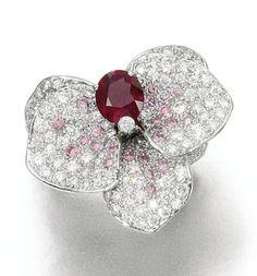 Ruby, pink diamond and diamond ring, 'Caresse D'Orchidées', Cartier Cartier Jewelry, Ruby Jewelry, Gems Jewelry, High Jewelry, Jewelry Art, Vintage Jewelry, Jewelry Design, Jewlery, Colored Diamonds