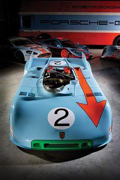 1965 Ford GT40    1971 Porsche 908    1971 Porsche 917    1975 Mirage GR8    1997 McLaren F1 GTR Longtail    2008 Aston Martin DBR9    2009 Lola Aston Martin LMP1    and the truck, a 1967 Mercedes 0317 Transporter.