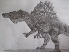 Spinosaurus the big fish and meat eating dinosaur from Africa. With itsimpressive sail its one of the stars in the dinosaur world.