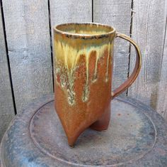 Tall Bold 16 oz Handbuilt Tripod Mug/Coffee Cup