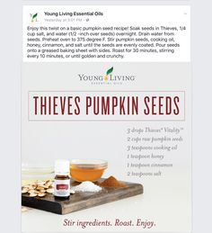 THIEVES PUMPKIN SEEDS!  Use Those Seeds From Your Halloween Pumpkins. Roasted 30 minutes,YUMMY