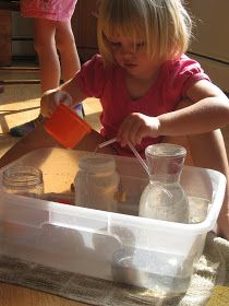 We have always had a water play tub  which is stored under our kitchen island.  It is filled with lots of fun recycled containers, sponge...
