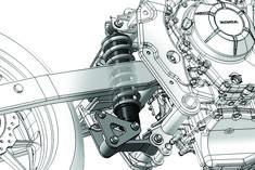 Wahacz obustronny z amortyzatorem centralnym pionowym i mechanizmem  pro-link. Honda CBR 500 R z 2012 roku.