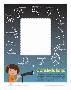 First Grade Earth & Space Science Paper Projects Worksheets: Constellation Chart Create your very own constellation chart with this cut-out template, perfect for stargazing on a clear night! Science Week, First Grade Science, Science Fair Projects, Science Lessons, Teaching Science, Science For Kids, Teaching Kids, Constellation Activities, Constellation Chart