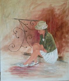 Thinking - oil painting by Josee Clerk Art Gallery, Paintings, Oil, My Favorite Things, My Love, Art Museum, Paint, Painting Art, Painting