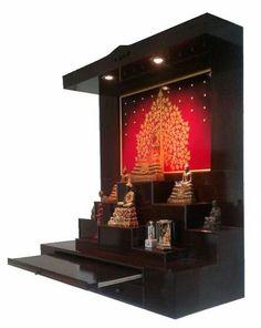 หิ้งพระ Bed Design, House Design, Small Balcony Design, Pooja Room Door Design, Wallpaper Ceiling, Home Temple, Temple Design, Puja Room, Hindu Temple