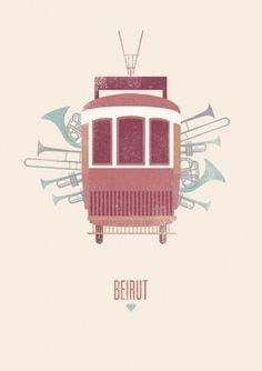 Poster for the band Beirut by Maria Diamantes Music Illustration, Graphic Design Illustration, Design Art, Print Design, Layout Design, Pochette Album, Band Posters, Music Posters, Train Posters